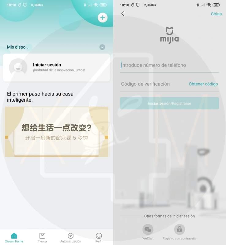 Creación cuenta Mi Home de Xiaomi