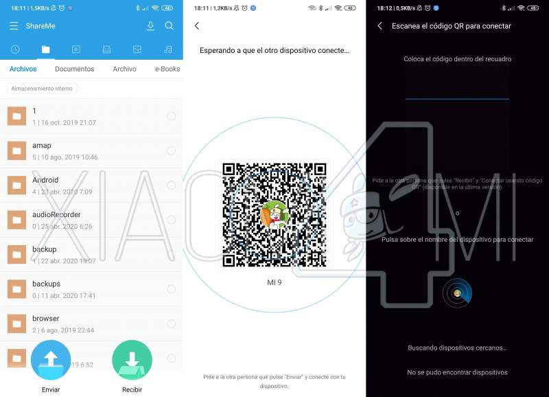 ShareMe app Xiaomi ejemplo de envío