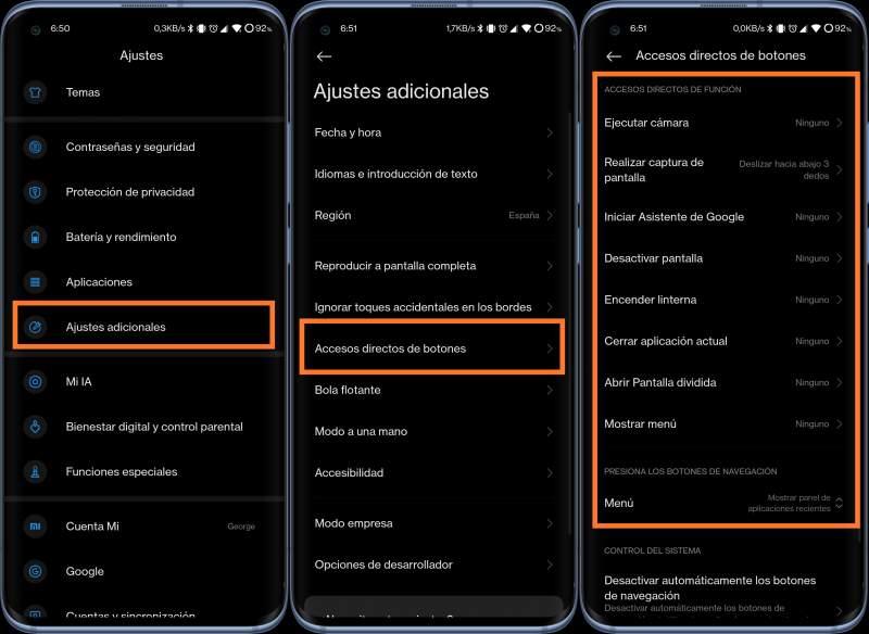 Accesos directos de botones Xiaomi