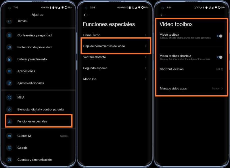 Caja de herramientas de vídeo en Xiaomi, Poco y Redmi