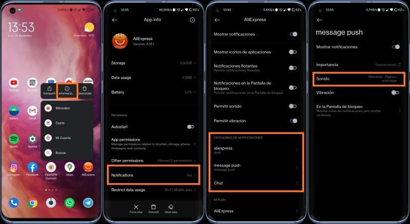 Personalizar sonidos de notificaciones app Xiaomi
